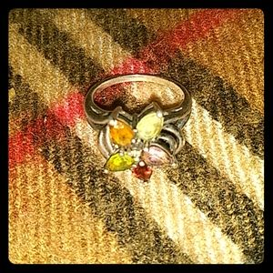 Statement silver flower colored ring!